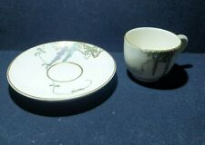 More details for vintage handpainted wisteria design cup and saucer, stamped
