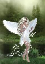 White Fairy Birthday Card for women & girls delectable white dress in the mist