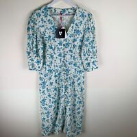 V by Very Linen V Neck Button Through Midi Dress Floral Print UK14