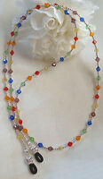 Sterling Silver & Multi Colored Crystal Eyeglass Chain (2933) Lanyard