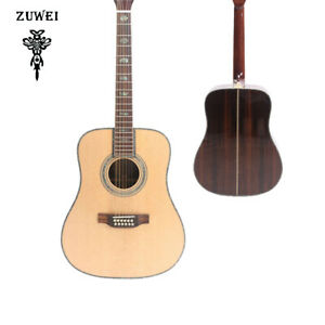 ZW 12Strings Electric Acoustic Guitar Solid Spruce Top Abalone Inlay With Case