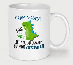 Fathers Day Grampssaurus Mug Gramps Dinosaur Cup Birthday Christmas Funny Dino