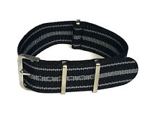 NATO Watch Strap 3 Stripe Black and Grey 22mm with Stainless Steel Buckle