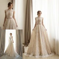 champagne Lace High Neck Wedding Dress Sleeveless A Line Bridal Gown Size 4 6 ++