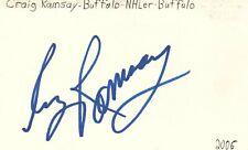 Craig Ramsay Buffalo Nhl Hockey Autographed Signed Index Card