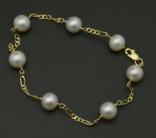 """NEW 14K Solid Yellow Gold White 7mm Cultured Pearl Bracelet 7.5"""""""