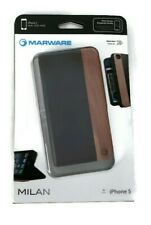 Marware Milan IPhone leather wood wallet Folio phone case for iPhone 5