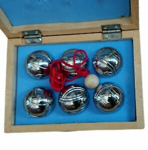 Miniature French Boules / Petanque Set in Wooden Box with Jack & Measure