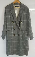 Zara Woman Cotton Linen Long Coat Jacket Grey Blue Dog Tooth Size M New       93
