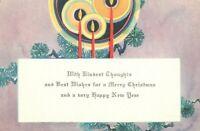 Candles Candlelight Lavender Purple Vintage Art Deco Christmas Card