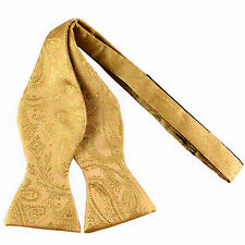 New men's self tie free style bowtie paisley polyester formal wedding Gold