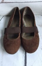 SONOMA 7 Med Women Brown Suede Leather Elastic Mary Jane Ballet Flats Shoe Preow
