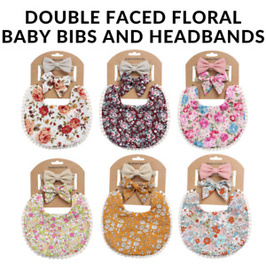 Brand New Boho Style Double Faced Floral Baby Bibs & Bowknot Headband Set