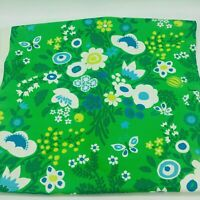 Bloomcraft Screen Print Fabric Green Flowers Daisies 2 Yards Vintage Retro