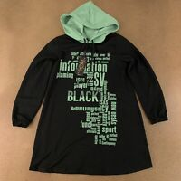 Newstar Women's Size Large Black Green Graphic Print Modest Hooded Tunic NWT