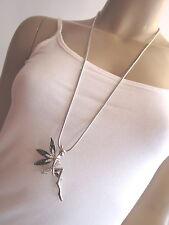 Damen Hals Kette Modekette Modeschmuck lang Strass Elfe Fee Fairy Silber K0917