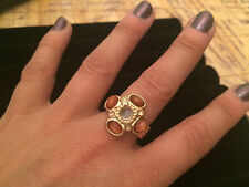 Orange Sunstone / Moonstone Ring - Size 8 - Gold Plate over 925 Sterling