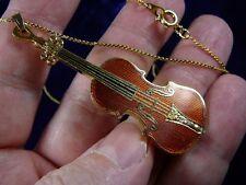(M-14-C) STRADIVARIUS violin NECKLACE pendant 24k gold plate JEWELRY love music