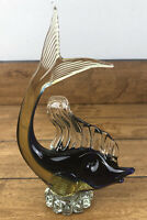 Vintage Murano Art Glass Fish On Pedestal Blue And Amber Glass