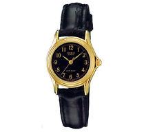 Casio Women's Black Leather Strap Watch, Black Dial, LTP1096Q-1B