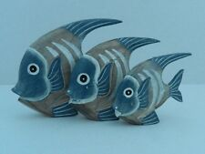 SET OF THREE FAIRTRADE WOODEN FISH FIGURES ORNAMENTS SEASIDE BEACH NAUTICAL