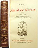 ALFRED DE MUSSET/NOUVELLES/ED LEMERRE/1876/ROMANTISME/DANDY/RARE EDITION
