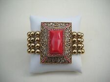 Brass Plated Beads With Faceted Plastic Cab & Rhinestone Bracelet Love This!
