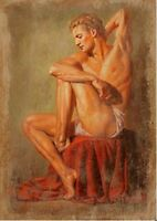 Art Charming Oil painting portrait nude strong man seated handpainted canvas