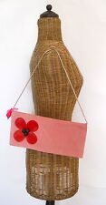 Julie Haus Suede Clutch Purse with Shoulder Strap Pink with Flower Detail New !