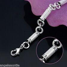 18K White Gold Filled Figaro Bracelet (B-215)