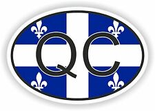 OVAL QUEBEC QC CANADA WITH FLAG STICKER AUTOCOLLANT TRUCK LAPTOP BIKE TABLET CAR