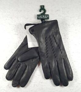 Lauren Ralph Lauren Whipstitched Points Touchscreen Black Leather Gloves Size L