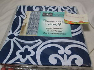 New Magic Makeover Fabric Shower Curtain 72x72 ~ WEST GATE ~ Indigo & White NIP
