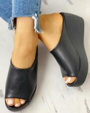 New Women Summer Slip On Wedge Heel Sandals Ladies Peep Toe Slippers Shoes Size
