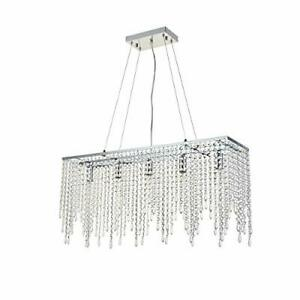 Luxury Crystal Chandelier Ceiling Lights, Modern Rectangle Raindrop Elegant