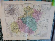 Carte géographique couleur 19°:L'YONNE  avec plan d'AUXERRE