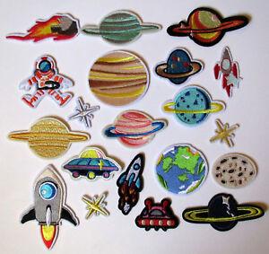 20 x Weltraum - Planeten - Alien - Rakete - Bügelbilder - Patches - Aufbügler