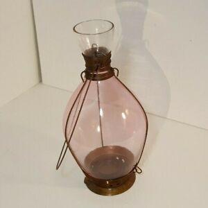 """11"""" Pink Rose Glass Votive Tea Lamp Candle Hanging Lantern"""