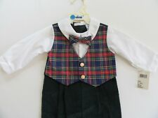 NOS Alexis Boys Suit 12m VTG Childs Bowtie All-in-One Piece USA Romper Outfit