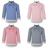 Girls Pussy Bow Lace Hem Striped Blouse Teens Contrast Details Tunic Top 3-14 Y