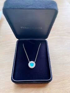 Tiffany T Diamond and Turquoise Circle Pendant