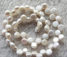 Beautiful 8-9mm White Pearl Coin Loose Beads 15inch AAA