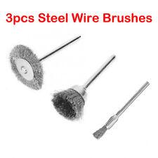 3Pcs Metal Wire Brush Polishing Wheels Full Kit for Dremel Rotary Tools