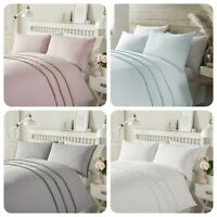 Serene TASSELS  Easy Care Polycotton Plain Dyed Duvet Cover Set Pink Grey White