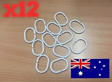 x12 Pack Shower Curtain Rings Hooks Screen Holder White Plastic Rod Set Clips