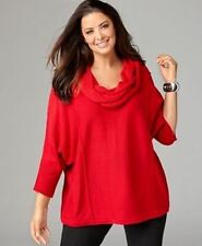 NWT $54 Style & Co Red 3/4 Dolman Sleeve Cable Cowl Neck Sweater Top Size: M