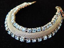 Vintage Pegasus CORO Signed Baby Blue Rhinestone Crystal Silver Mesh Bracelet