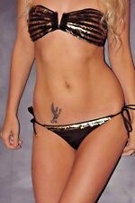 Victoria's Secret Small Black Gold Sequin Padded Bandeau Bikini Set Top Bottoms
