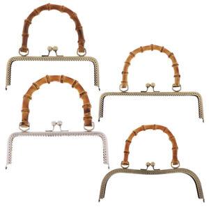 20/25/27cm Retro Metal Purse Bag Frame Kiss Clasp Lock With Bamboo Handle