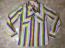 Vintage Collegian of California Boho Chic Striped Long Sleeve Top Blouse Sz 5 6